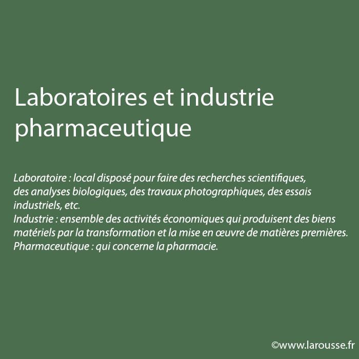 Laboratoires et industrie pharmaceutique